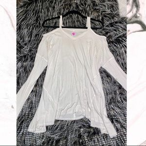 Women's Cold Shoulder White Long Sleeve Top